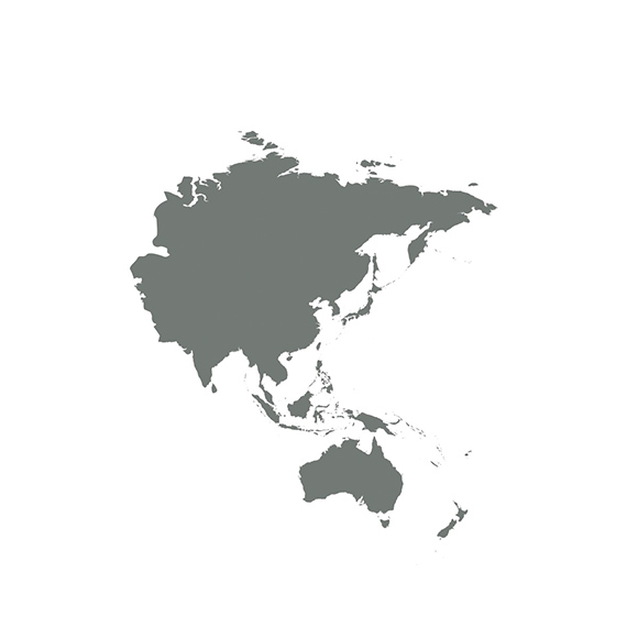 A silhouette of a map of the Asia-Pacific regions.