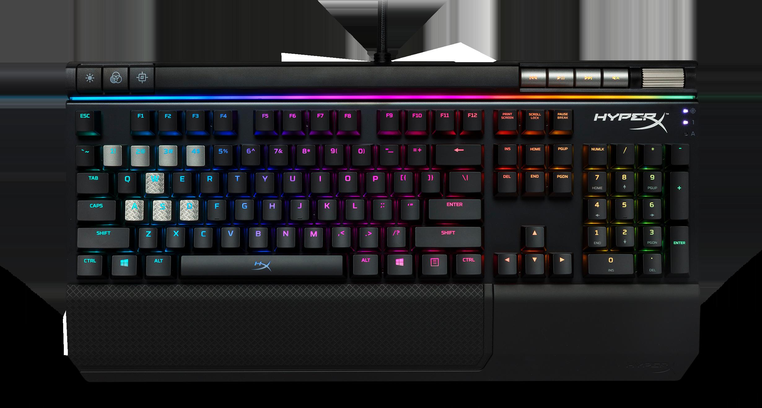 Birdseye view of the Kingston HyperX Elite mechanical keyboard when it's on