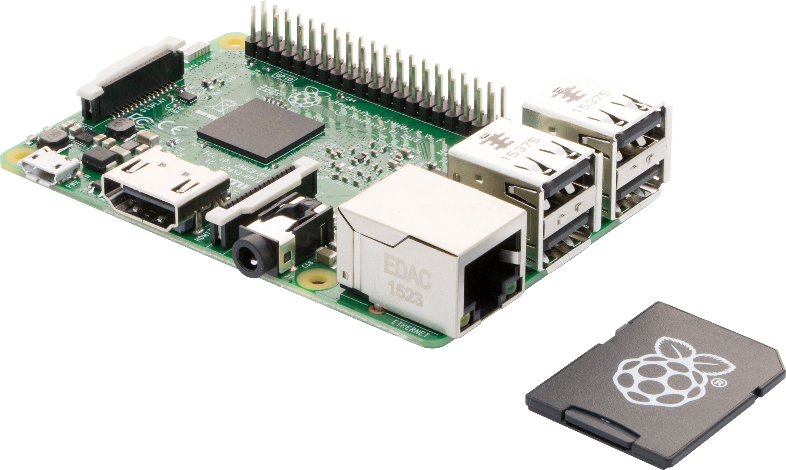 Raspberry Pi 3 Board and 16GB, 10class, with NOOBS Forefront View