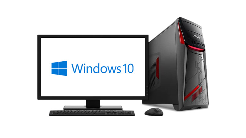 Computer with Windows 10 logo on the monitor
