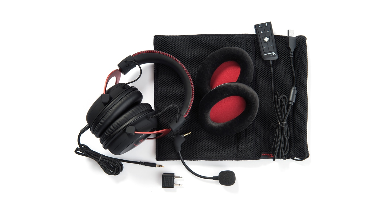 View of Kingston HyperX Cloud II Headset and included accessories.