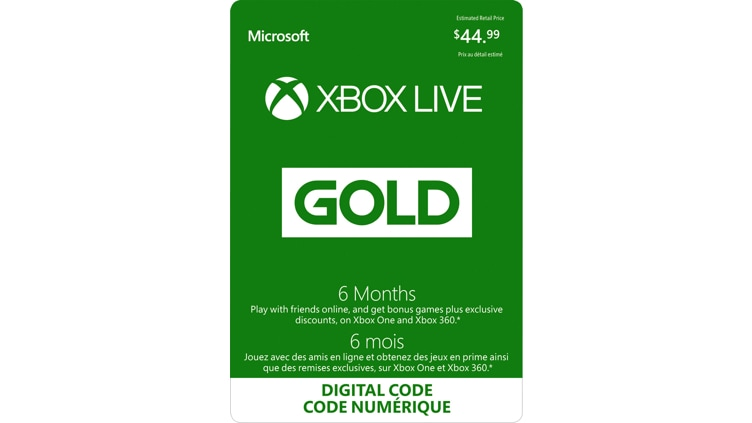 6-Month Xbox Live Gold Membership (Digital Code)
