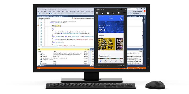 Monitor showing Visual Studio Enterprise screens