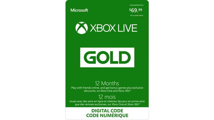 Abonnement de 12 mois à Xbox Live Gold (code numérique)
