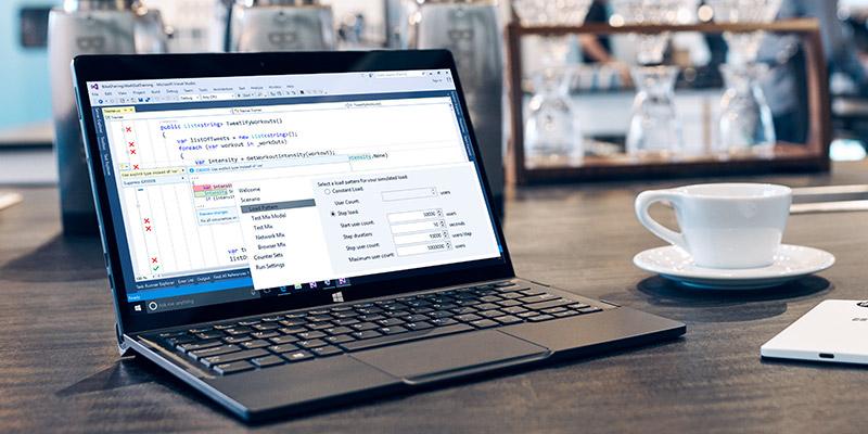 Laptop screen displaying Visual Studio content