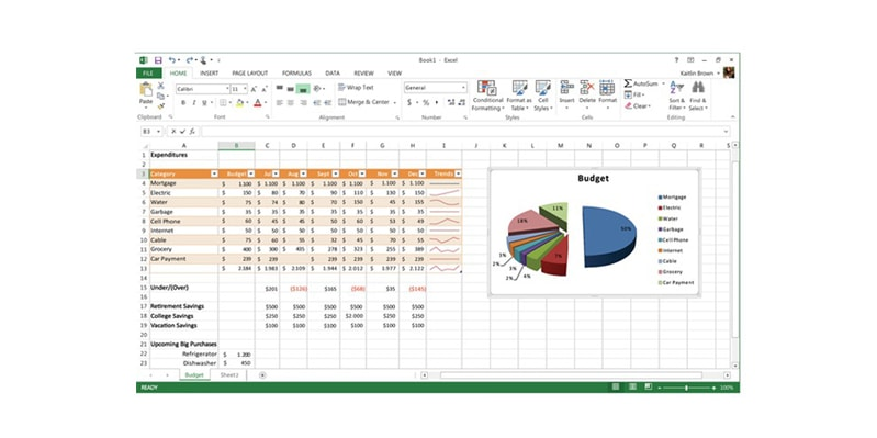Excel document.