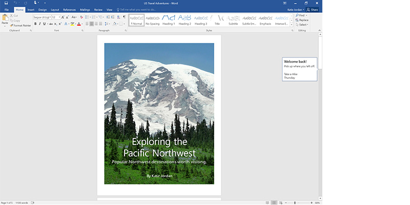 A screen shot from Word