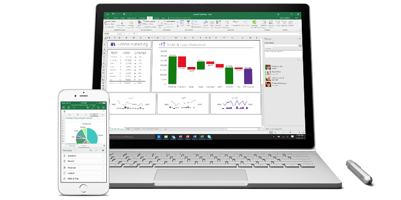 Excel on laptop and on smartphone.