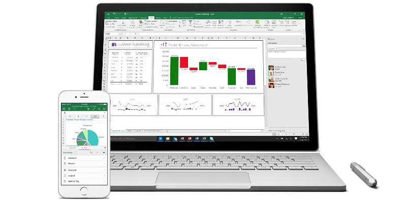 Excel trên máy tính xách tay và điện thoại thông minh.