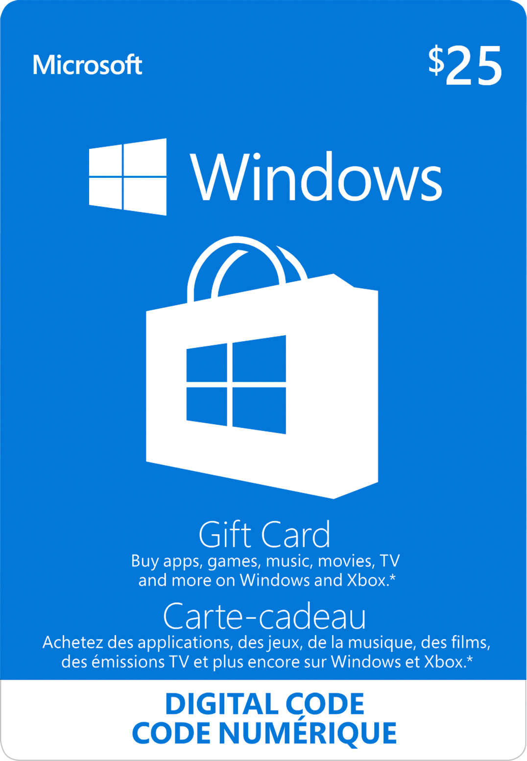 $25 Windows Store Digital Gift Card