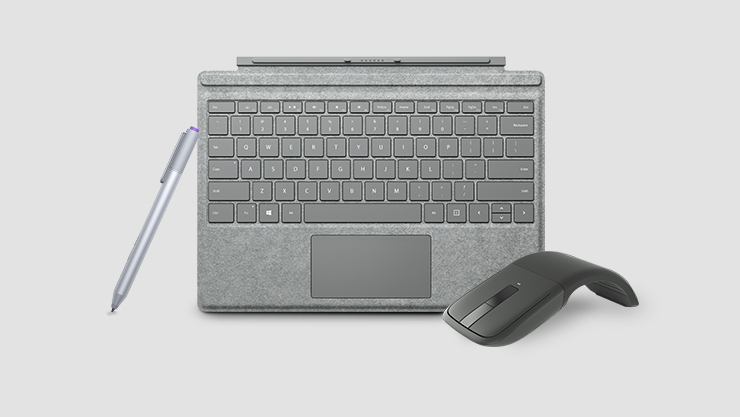 Gray Surface Pro 4 type cover with Microsoft arc mouse and Surface pen | Clavier Type Cover gris pour Surface Pro 4 avec souris Microsoft arc et stylet Surface