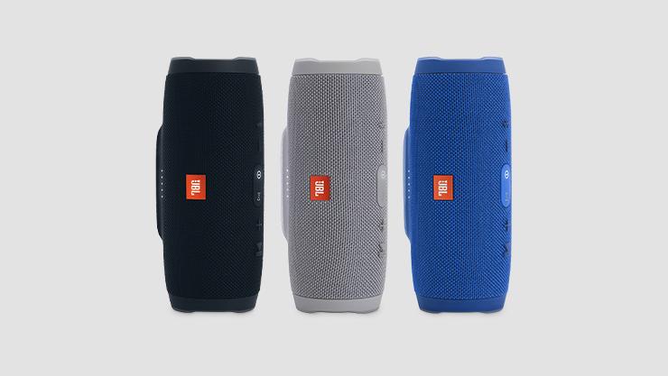 """JBL speakers in black |  gray and blue"""
