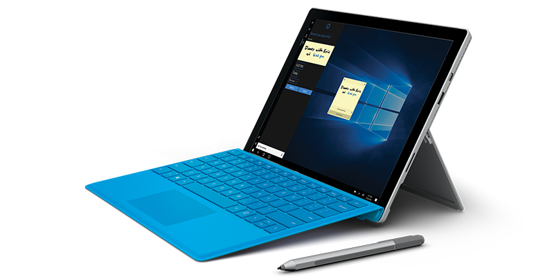 Left facing Surface Pro 4 with Surface Pen and blue type cover | Surface Pro 4 tourné vers la gauche avec stylet Surface et clavier Type Cover bleu