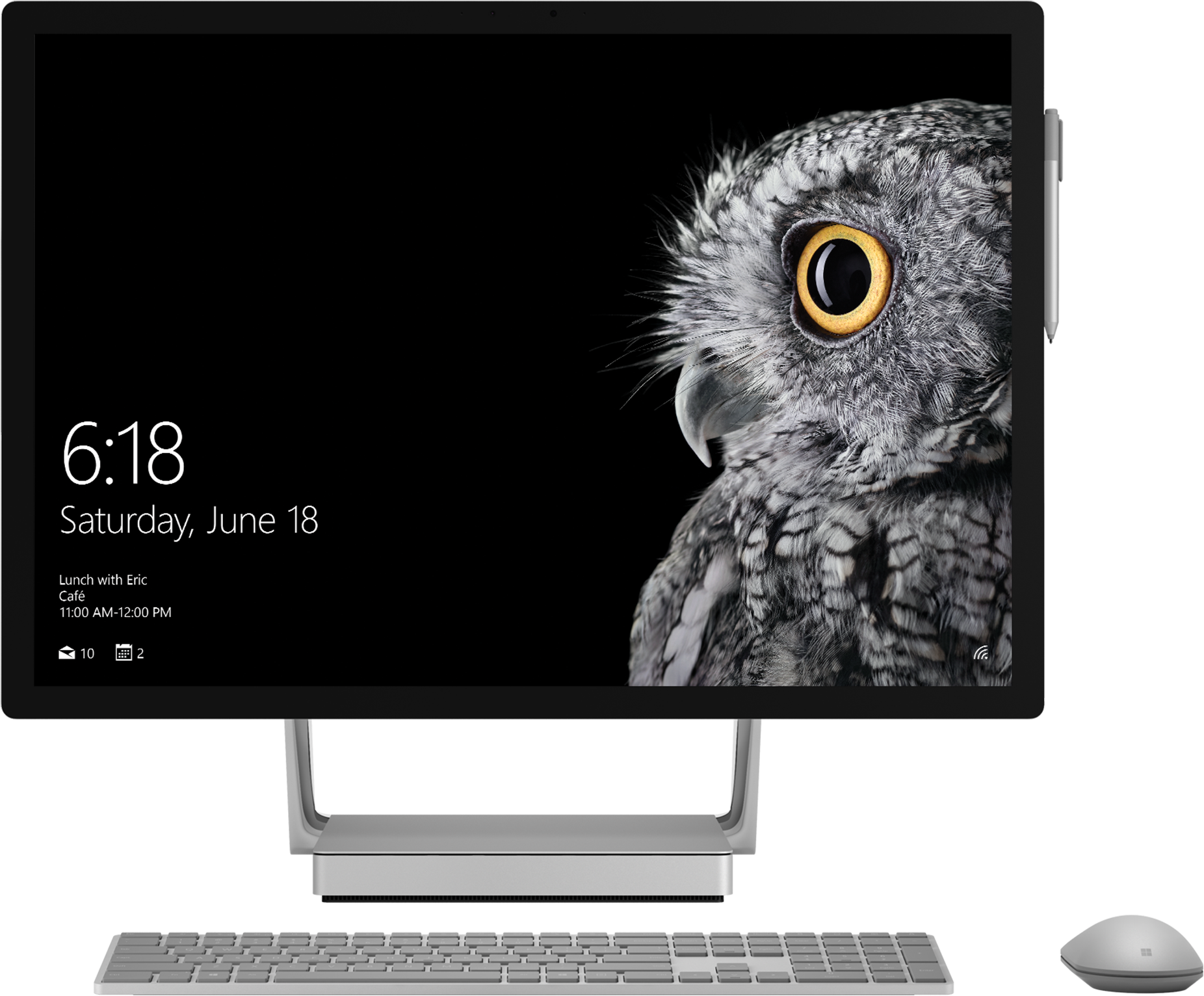 Surface Studio front facing with keyboard and mouse