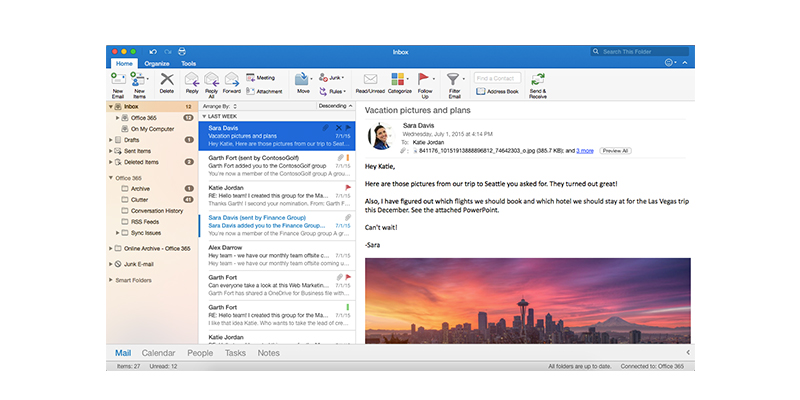 A screenshot of Outlook