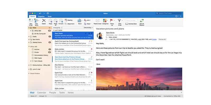 A screenshot of Outlook