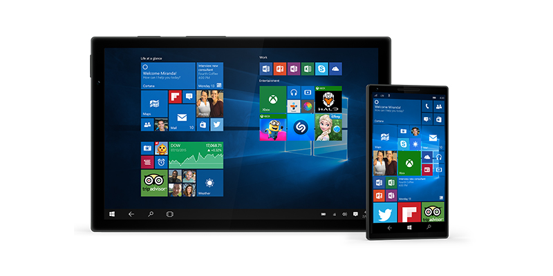 A phone and tablet running Windows 10