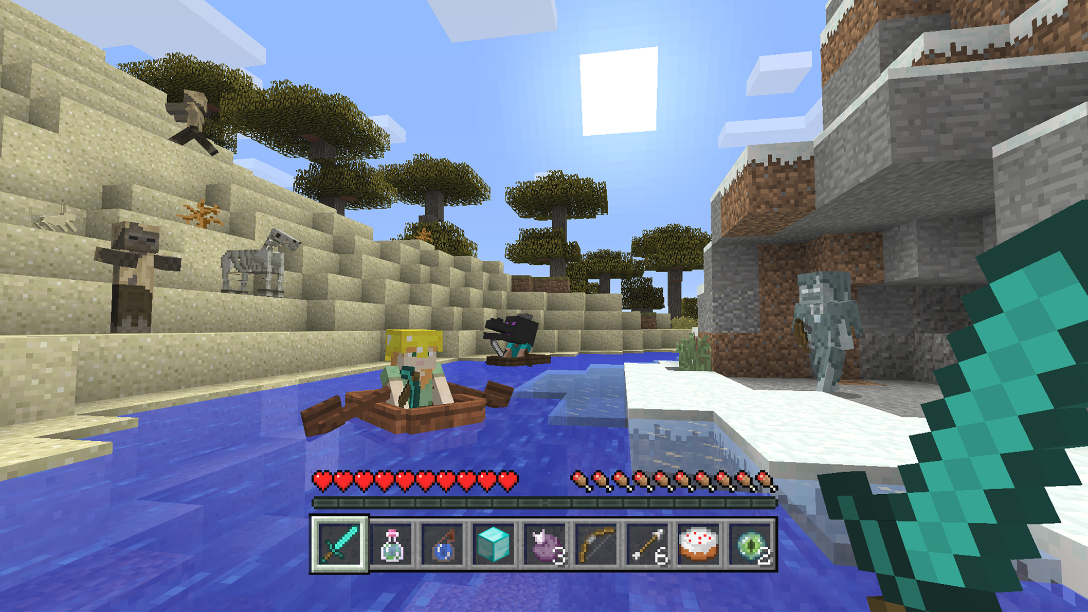 Minecraft screenshot of character in boat