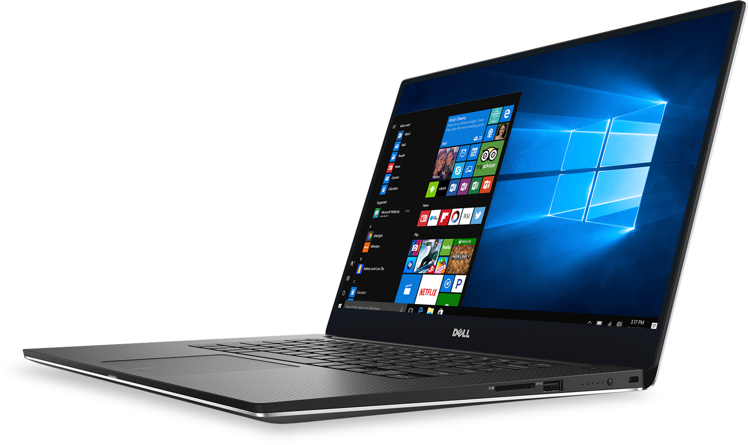 Dell XPS 15 9560 Laptop• 15.6-inch 4K UHD touchscreen • Up to Intel i7 7th Gen • Up to 32GB memory/Up to 1TB SSD • NVIDIA GeForce GTX 1050 graphics * Thunderbolt 3 port