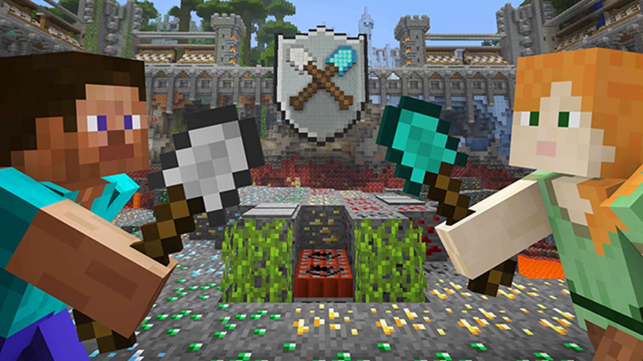 Minecraft screenshot of characters battling each other