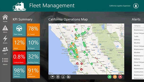 California Operations Fleet Management map display.
