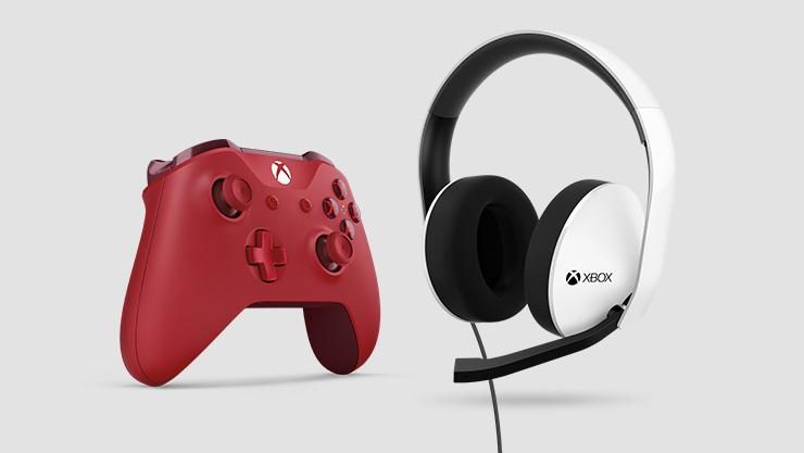 A Xbox controller next to a Xbox headset.