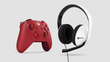 A Xbox controller next to a Xbox headset.