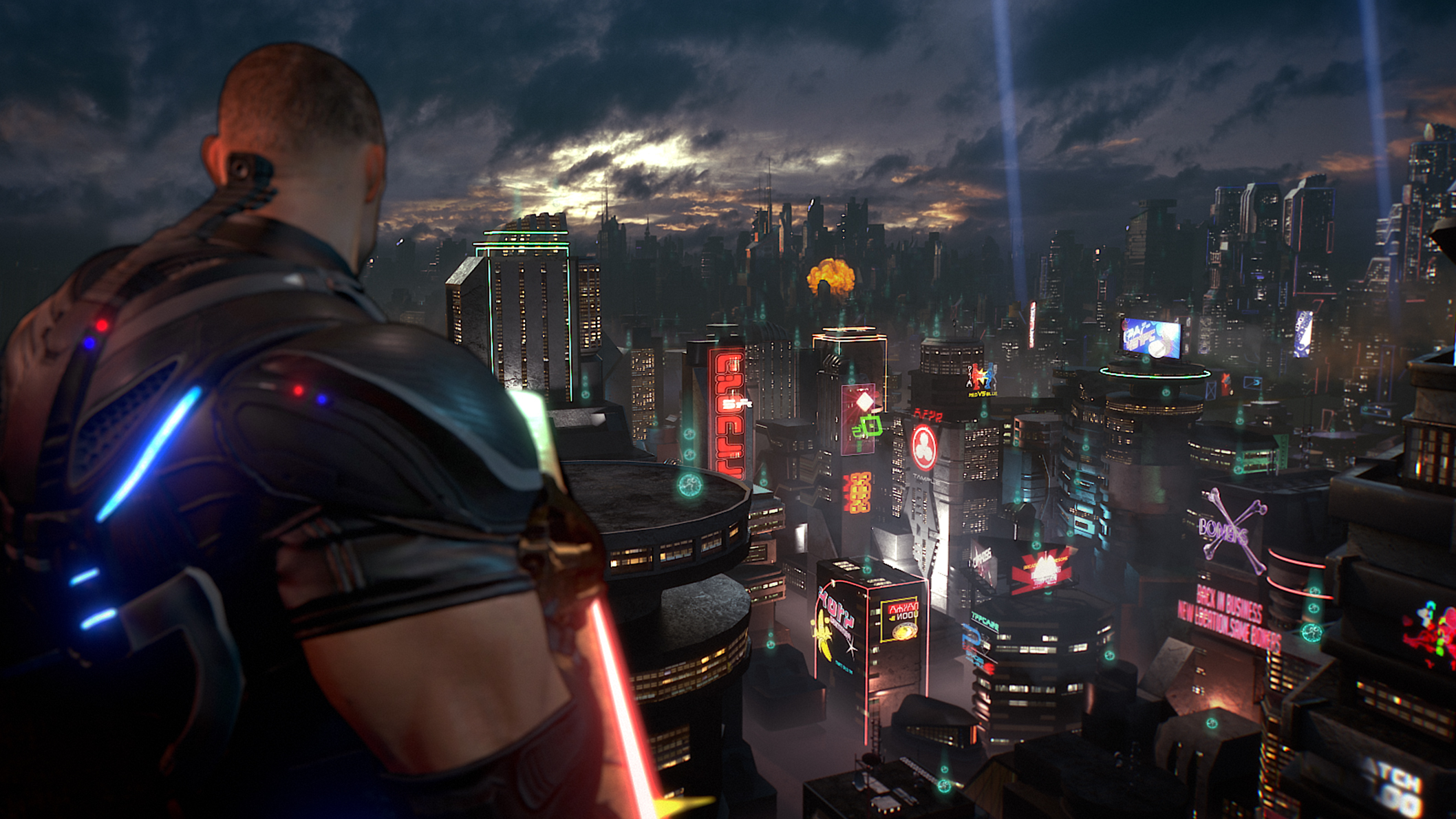 Main character of Crackdown 3 on a rooftop overlooking the city.