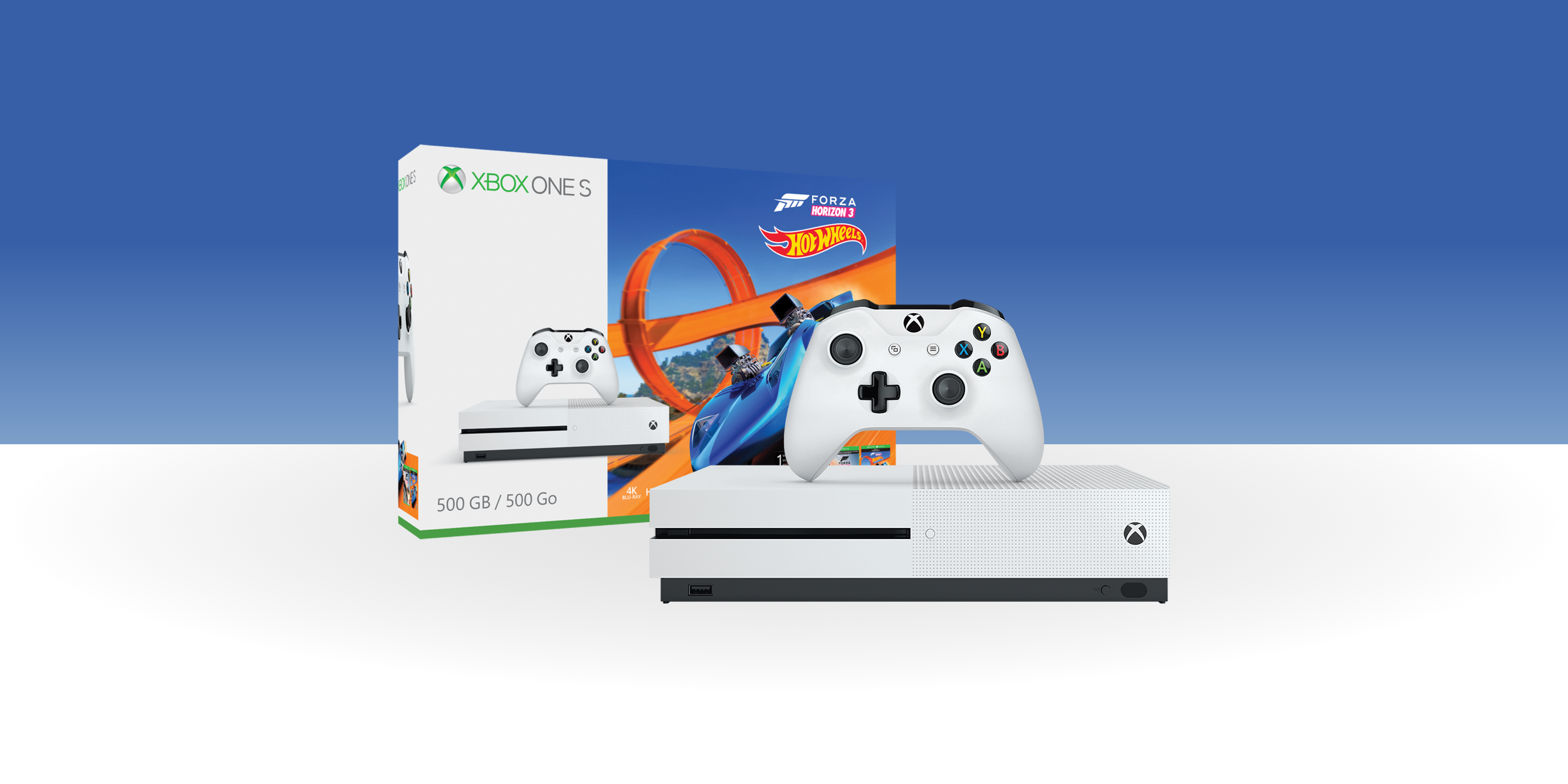 Xbox One S with hot wheels Forza bundle box and background