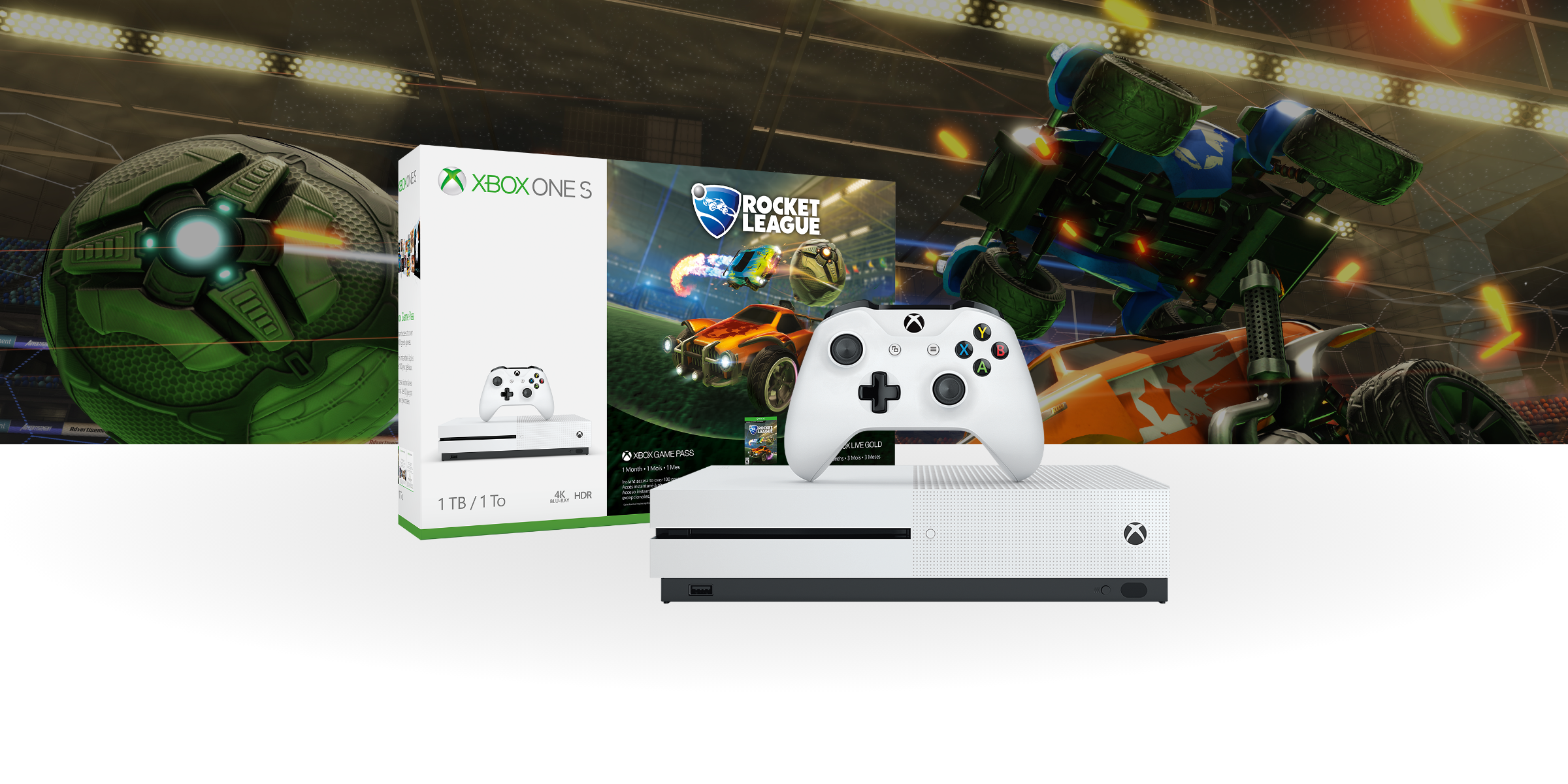 Xbox One S with rocket league bundle box with key art background