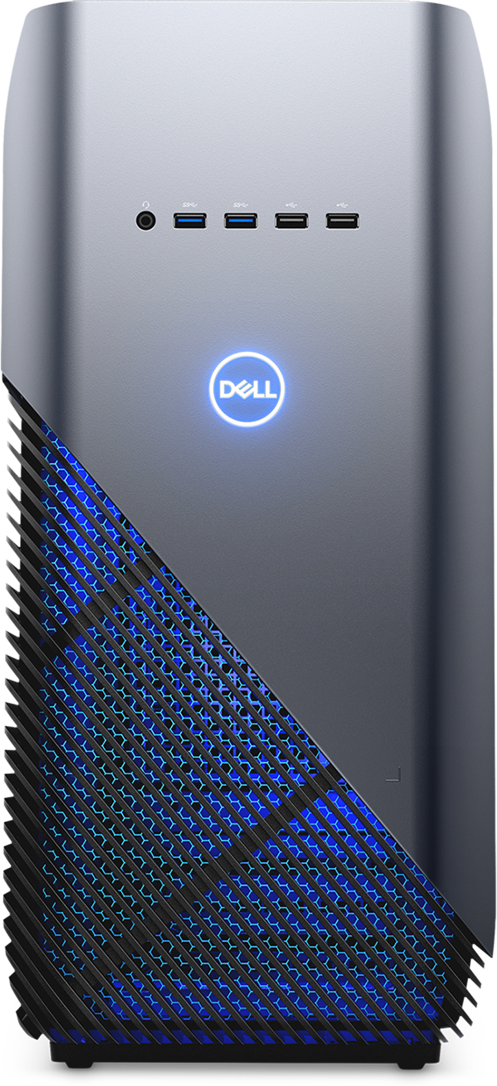 Dell Inspiron Gaming Desktop 5680 frontal view with blue LEDs visible
