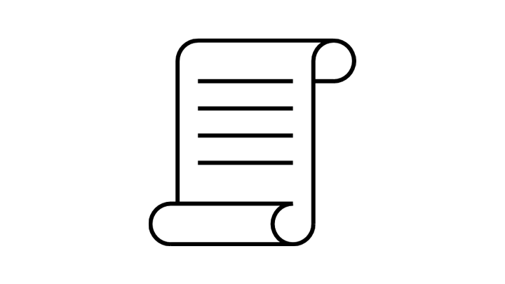 Icon of a scrolled document