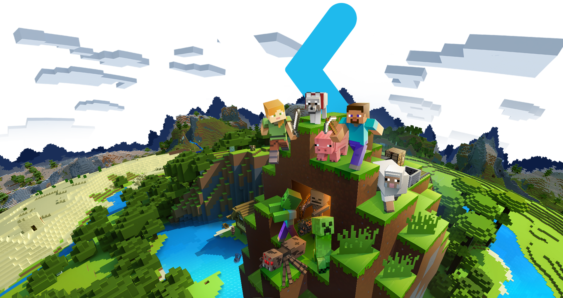 Mixer logo X behind a Minecraft globe image with assorted Minecraft characters on top