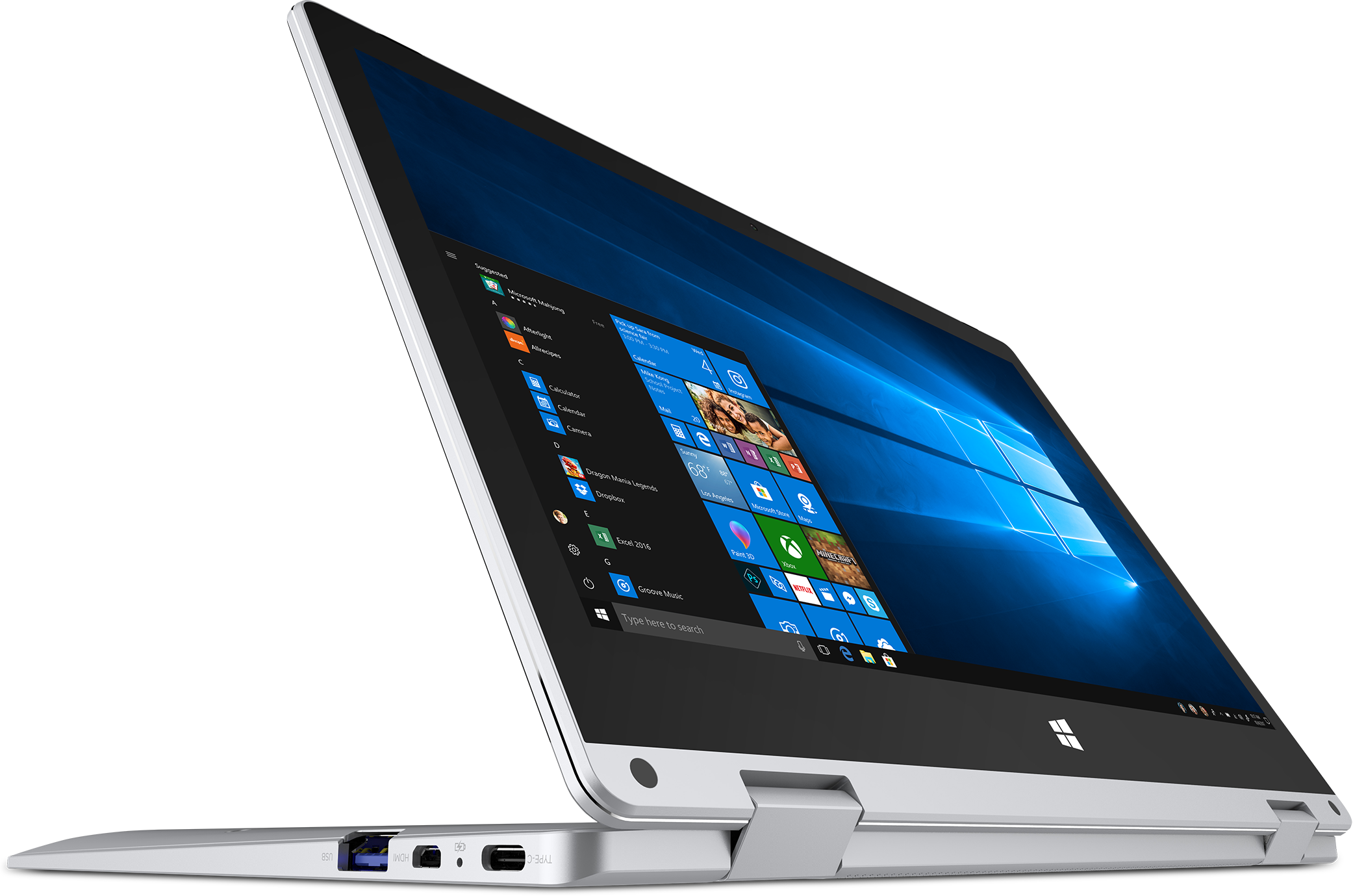 Angled side view of the Primebook in tablet mode