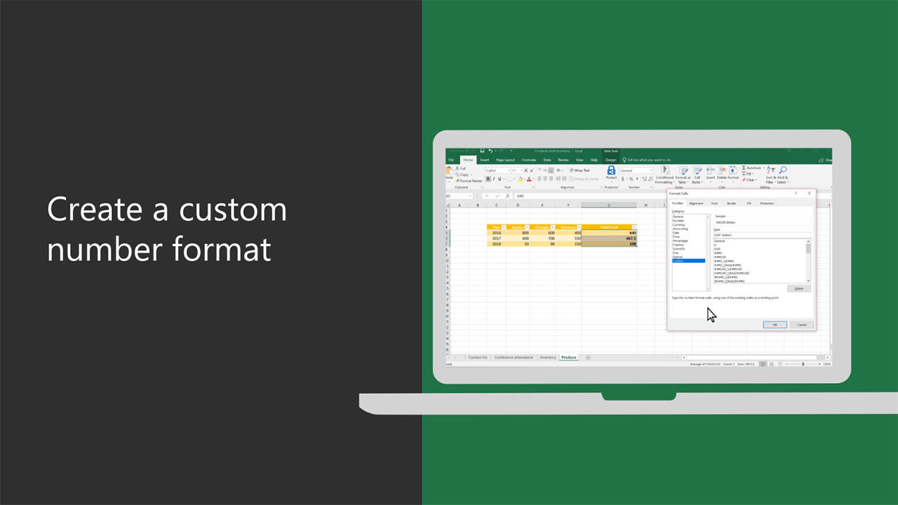 Create Or Delete A Custom Number Format Excel