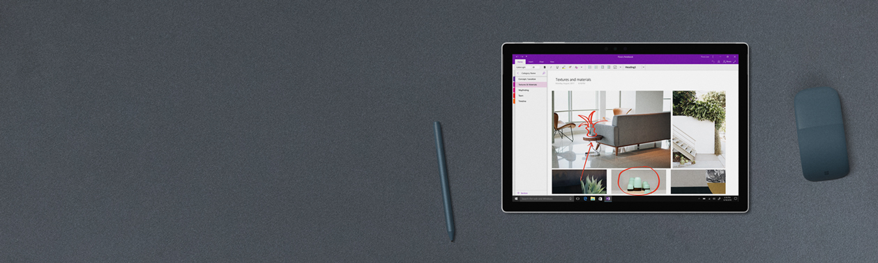 Een Surface Pro, een Surface-pen, een Surface Arc Mouse
