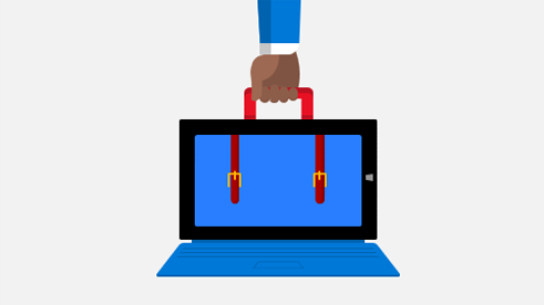 Image of hand holding a suitcase and laptop