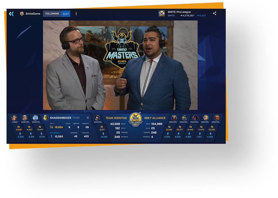 Smite game play on Mixer with connections displayed