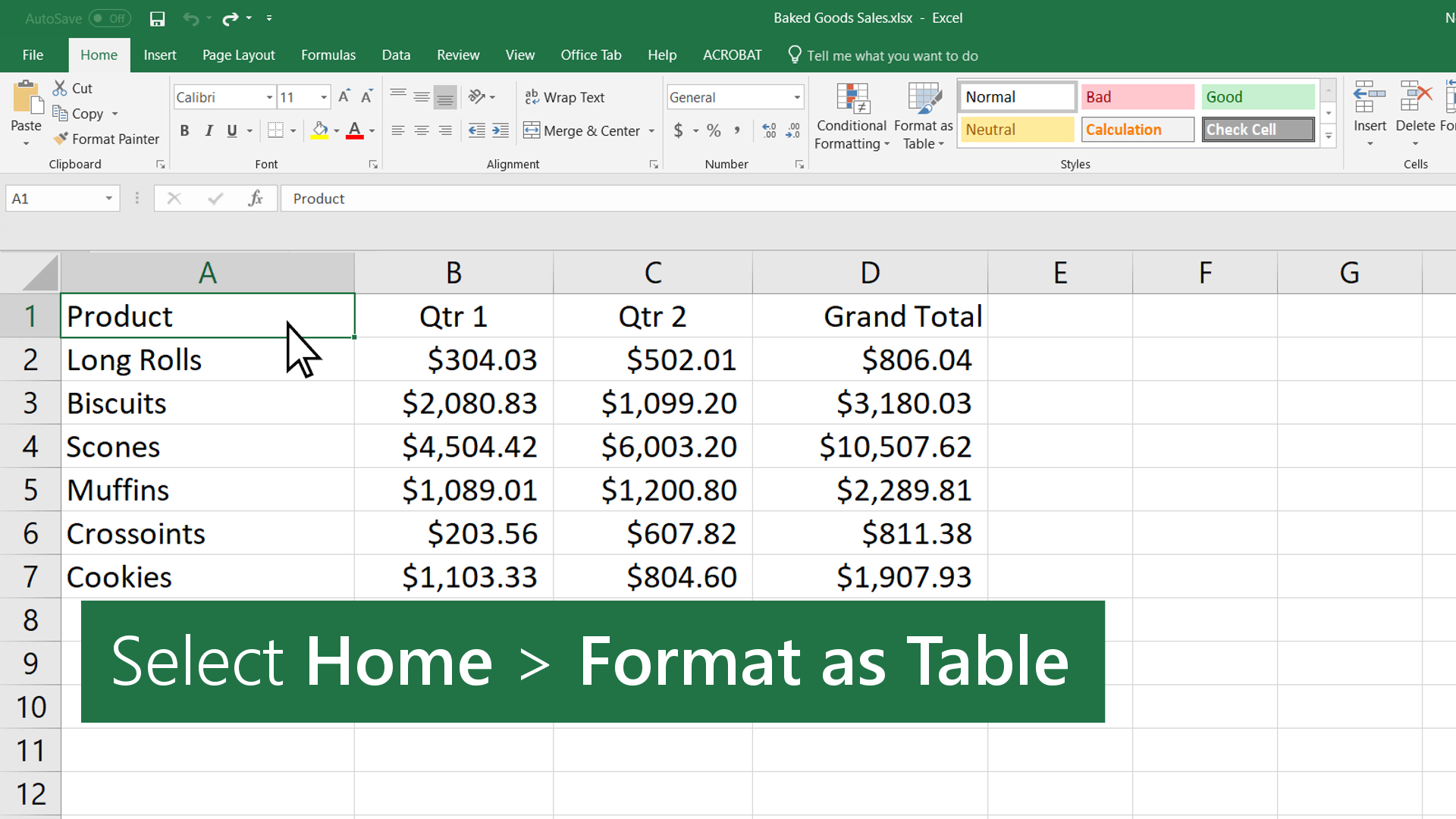 Create and format tables