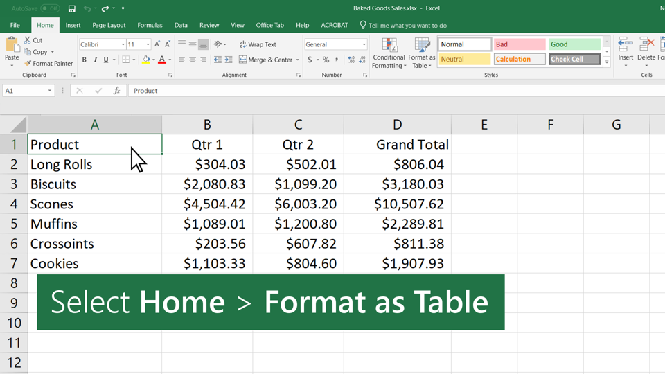 Video Create A Table Excel