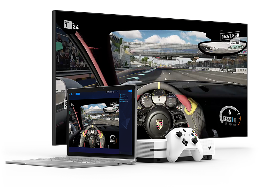 Image of a tv, laptop, and Xbox One S showing near-zero latency playing Forza
