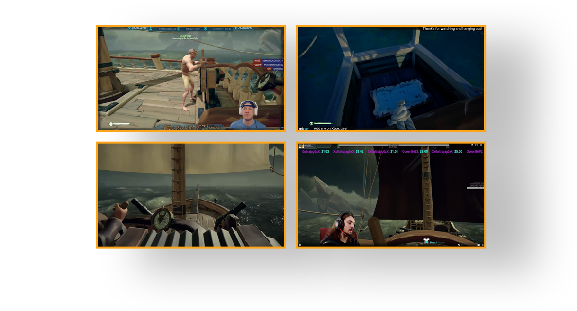 Image of four gamers' screens streaming the same game together