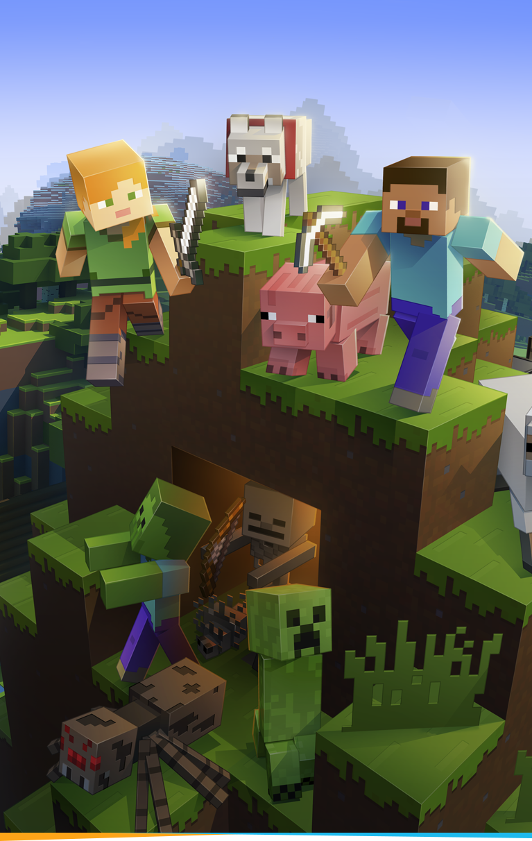 A Minecraft world with characters on top of a mountain