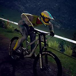 Screenshot of mountain biker from Descenders