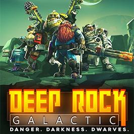 Deep Rock Galactic, Danger. Темнота. Фантастические гонки. Отряд гномов, стоящий на поверхности скалистой планеты