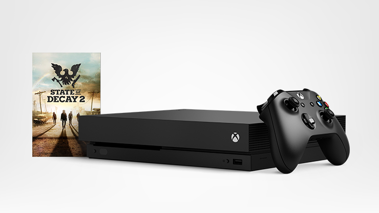 An Xbox One X with an Xbox controller, and a State of Decay game box
