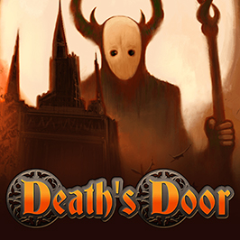 Death's Door, overlay of a castle and a masked creature holding a staff