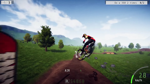 Gameplay screenshot of mountain biker from Descenders