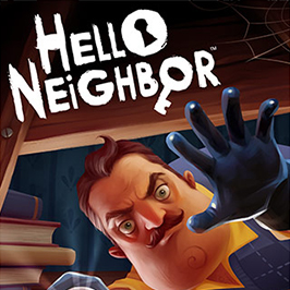 Hello Neighbor, view of Mr. Peterson shining a flashlight at you and reaching towards you