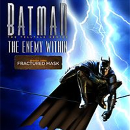 Batman: The Enemy Within - Fractured Mask, Batman squatting on a power line with lightning bolts in the background